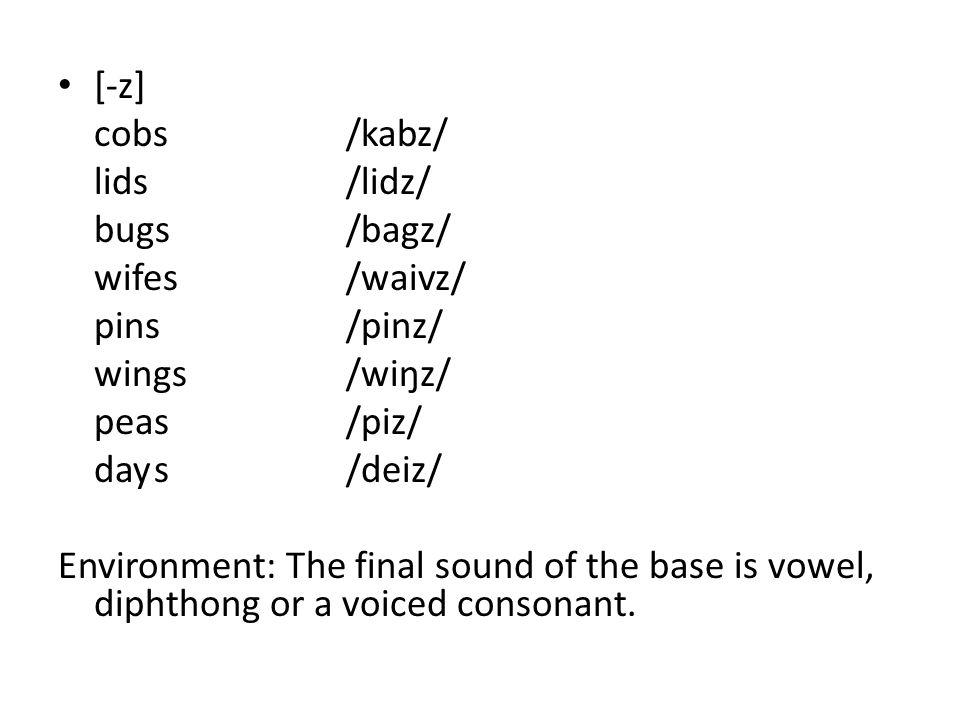 [-z] cobs /kabz/ lids /lidz/ bugs /bagz/ wifes /waivz/ pins /pinz/ wings /wiŋz/ peas /piz/